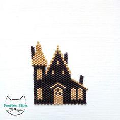 Maison Hantée tissage Brick Stitch en perles Miyuki par Pauline Eline