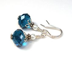 Teal Blue Earrings Crystal and Glass Pearl Sterling Silver