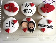 Valentines Cakes And Cupcakes, Valentines Sweets, Valentine Cake, Love Valentines, Fondant Cupcakes, Cupcake Cakes, Cupcake Recipes, Anniversary Cupcakes, Oreo