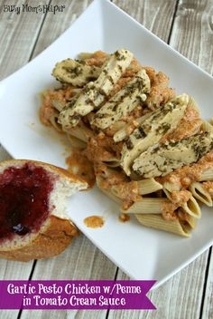 Garlic Pesto Chicken with Penne in Tomato Cream Sauce  by www.BusyMomsHelper.com #Chicken #Pasta #Recipe