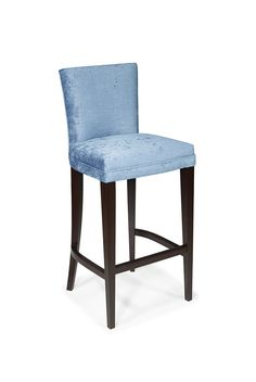 The Samuelson is an upholstered bar stool with a rectangular back and piping details around the edges of the seat. Shown in Cherry wood with an Ebonised Wood finish.