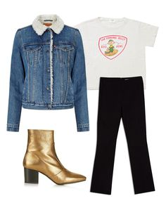 Levi's Authentic Sherpa Trucker Jacket ($148); RE/DONE The San Fernando Valley Camp Tee ($85); Who What Wear Cropped Flare Pants ($30); Topshop Mustard Western Boots ($140).