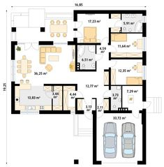 Three Bedroom House Plan, Family House Plans, Best House Plans, Bedroom House Plans, Home Design Floor Plans, House Floor Plans, Modular Home Plans, One Storey House, Indian House Plans