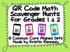 QR Code Math Scavenger Hunts for Grades 1 and 2 (8 Sets, C Fun Activities To Do, Classroom Activities, Second Grade Math, Grade 1, Teacher Observation, Family Math Night, Daily Math, Math Words, Math Stations