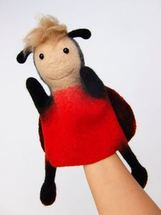 the ladybird hand puppet wet felted MADE TO ORDER by bibabo