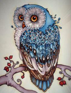 BELLE PEINTURE!... L'ART D'UNE CHOUETTE!  Couleurs douces et vives! ...: