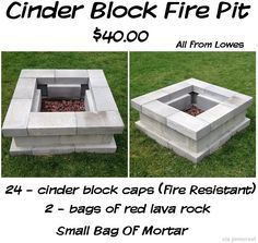 24 fire-resistant cinder block caps, 2 bags of lava rock and a bag of mortar, with an estimated building cost of under $50