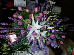 A lush Sympathy piece in purples and pinks. This was for an avid gardener and a flower lover.