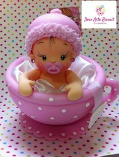 ideas for baby shower souvenirs porcelana fria Polymer Clay Figures, Polymer Clay Dolls, Polymer Clay Creations, Polymer Clay Crafts, Fondant Figures, Baby Shower Cakes, Girl Shower Cake, Baby Shower Souvenirs, Clay Baby