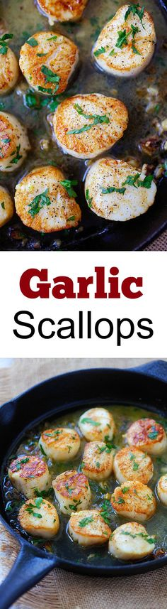 Garlic Scallops - fresh, succulent scallops sauteed with garlic, butter, white wine and parsley. Easy recipe that takes only 15 mins! And prolly tasty Fish Recipes, Seafood Recipes, Great Recipes, Cooking Recipes, Favorite Recipes, Healthy Recipes, Clam Recipes, Seafood Appetizers, Recipes Dinner