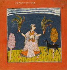 Todi Ragini. A girl holding floral sprays accompanied by a deer. Kulu, ca. 1700-1710. Wife of Dipaka.