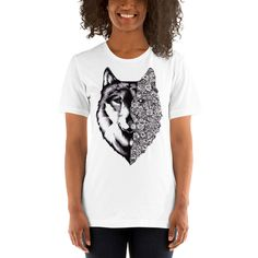 Items similar to Floral Wolf T-Shirt on Etsy Wolf Painting, Painting For Kids, Wolf Design, Tee Design, Fantasy Wolf, Fantasy Art, Hybrid Wolf, Wolf Girl Tattoos