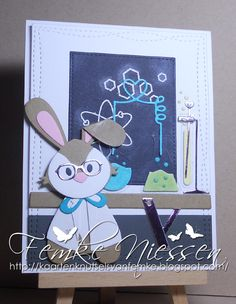 Made by Femke Niessen: Chemistry card with adorable bunny. Eline Pellinkhof: bunny, MFT: undeniable chemistry set,  table is from spring garden.