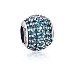 March Daily Deal March Birthstone Light Blue Pave Ball Charm 925 Sterling Silver Pandora Compatible
