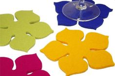 Coasters Flower Power Felt Coasters in 5MM Thick by feltplanet, $22.00