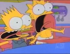Sometimes it's not fair for little children being raised by a single competent parent. Bart & Lisa Simpson find it hard to cope with surrogate dad while Homer's away. Lisa Y Bart, Bart And Lisa Simpson, Simpsons Videos, Simpsons Quotes, Bob Meme, T Shirt Picture, Lil Black, Free Tv Shows, Mood Pics