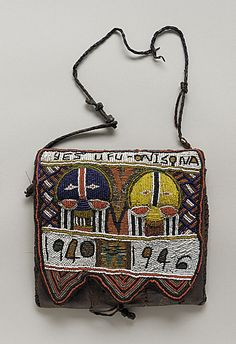 Africa |  Ifa beaded pouch.  Yoruba peoples, Nigeria | 20th century.