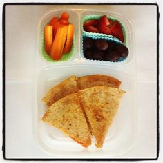 Pizza (shredded cheese & pepperoni) quesadilla on whole wheat tortilla, grapes & strawberries, carrots w/ranch.