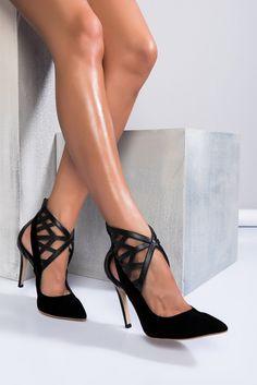 Siyah Süet Kafesli Kadın Topuklu Ayakkabı