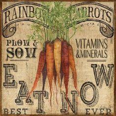 Burlap Farm Carrots by Geoff Allen Vintage Prints, Vintage Posters, Vintage Art, Vintage Tin Signs, Vintage Labels, Decoupage Vintage, Decoupage Paper, Vintage Pictures, Vintage Images