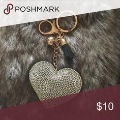 Silver and Gold Puffed Heart w/tassel Key Chain. Silver and Gold Puffed Heart with  Tassel Key Chain! Handbag decor. New Accessories Key & Card Holders