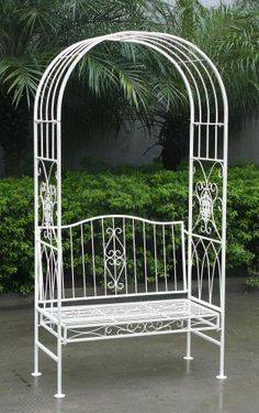 Bon WHITE WROUGHT IRON SHABBY CHIC GARDEN OUTDOOR ARCH ARCHWAY U0026amp; 2 SEATER  BENCH By Bentley