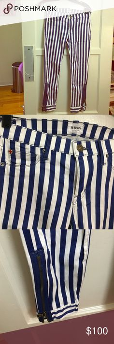 New Hudson cropped striped pants Zip pant size blue and white. Crop Anja super skinny with zipper Hudson Jeans Pants Ankle & Cropped
