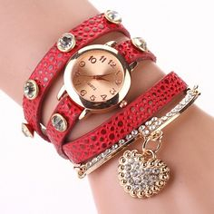 Fashion Women Casual Watches Crystal Faux Leather Strap Long Chain Quartz Watches