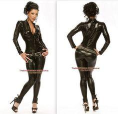 Black-Metallic-Womens-Black-Bodysuit-Catsuit-Zip-Up-Halloween-Costume-S-2xl