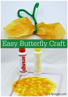 Coffee Filter Butterfly Craft for Preschool. Super easy butterfly craft your pre-k or kindergarten kids can make for a bug or spring theme at home or in the classroom!  - Pre-K Pages
