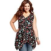 I tried this on today as well, and it was very cute.  I didn't get it because it was really similar to the one I ultimately picked - but this is a winner, especially with a cardigan if your arms hang low and wobble to and fro: American Rag Plus Size Top, Sleeveless Floral-Print Tunic