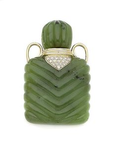 A jade and diamond perfume bottle
