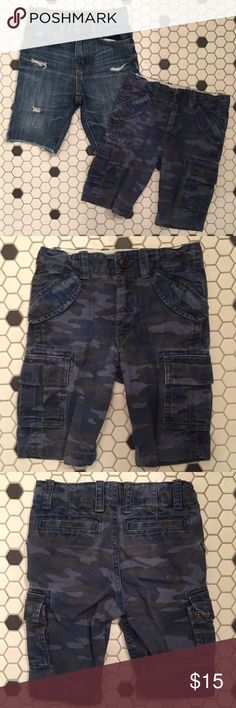 2 pairs GAP 4T boy shorts denim camo cargo blue Excellent used condition. Selling 2 pairs together.  No stains or damage.  All the clothes I list are very nice so please be cool and don't send me low ball offers.  My prices are very reasonable.  Discount only if you buy 2 or more listings in a bundle.  Buy more to save! GAP Bottoms Shorts
