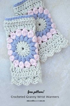 Crocheted Granny Square Wrist Warmer Pink and Grey