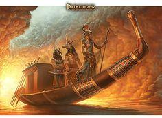 Gods Of Ancient Egypt On The Solar Barge - Egyptian Art - Handmade Oil Paintings On Canvas - Ägypten - History Ancient Egypt Art, Old Egypt, Egyptian Mythology, Egyptian Goddess, Egyptian Kings, Egyptian Art, Luxor, Kon Bleach, Egypt Concept Art
