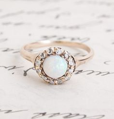 Opal and Diamond Victorian Cluster Ring