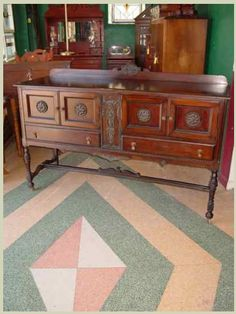 Tomlinson Chair Manufacturing Company Vintage Walnut Sideboard. $599.00 on GoAntiques. Circa 1925. #antique #furniture