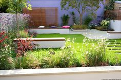Sara Jane Rothwell Garden Design - benches and landscaping with grass