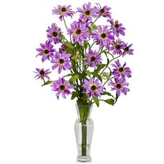 #Purple #Cosmos w/Vase Silk Flower Arrangement.  The appropriately named Cosmos silk flower – sporting the most vibrant colors of the universe - will add an energetic boldness anywhere on Earth. Each flower is a miniature sun giving different shades of color to any room. #silkflowers