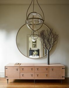 Workstead House Eclectic Entryway | console, mirror, pendant