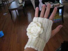 Crochet Fingerless Gloves with Flower by kickincrochet on Etsy