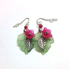 Red lucite flower earrings - retro, green leaf, tulips, pierced, dangle earrings, silver earrings, retro, hip, cute, beach,island