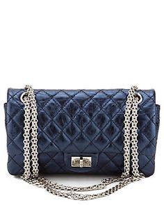 Chanel Metallic Blue Quilted Calfskin Single Flap Bag