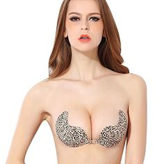 83a6bb93f63 Sannysis Push Up Silicone Self-adhesive Sexy Backless Leopard Invisible Bra  (A-B) at Amazon Women s Clothing store