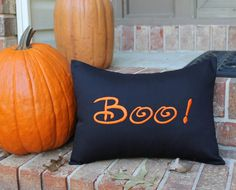 HALLOWEEN Pillow Cover - BOO! - 12 x 16 Holiday Decoration - Autumn - Fall - October - Trick or Treat - Inside or Outside Porch Decor by SewGracious on Etsy