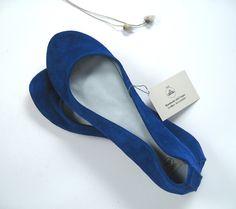Blu Elettrico Soft Handmade Ballet Flats by elehandmade on Etsy, $98.00