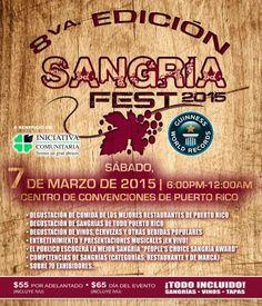 Sangría Fest, Vinos y Tapas fue el primer festival de sangrías en Puerto Rico en el 2011 y el próximo sábado, 7 de marzo de 2015 se estará llevando a cabo la 8va edición en el Centro de Convenciones de Puerto Rico. Boletos a la venta en Ticket Center www.tcpr.com