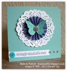 Flower Sparkle: Doily, Rosette & Butterfly Congratulations Card