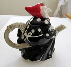 1979 Fitz & Floyd WITCH Vintage Ceramic Teapot Broom Apron Headscarf                                                                                                                                                      More