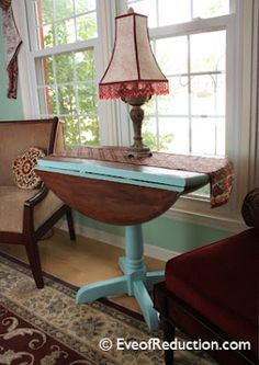 I think drop-leaf tables are one of the most practical pieces of furniture. They expand and reduce so easily as your needs and space demand. You can dress them up or make them casual and approachable. They work anywhere from the dining room to the den to the front entrance to the porch.